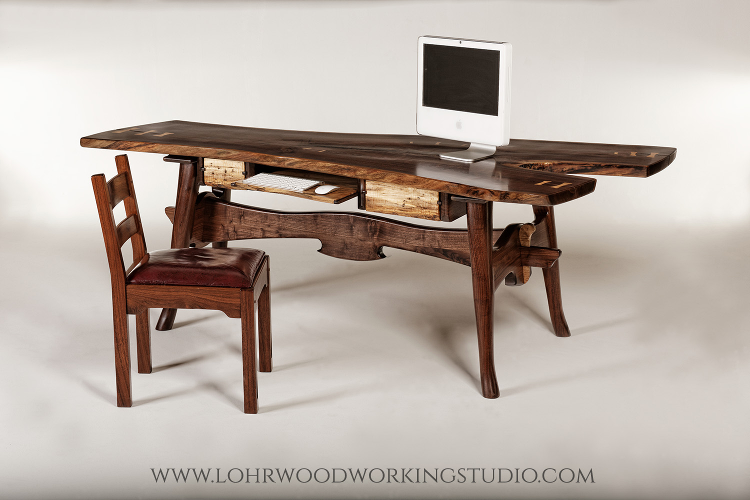 Live Edge Walnut Desk with Maple Drawers