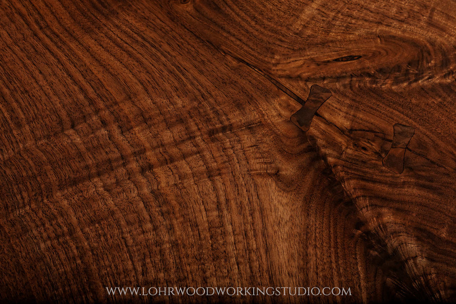 Live Edge Walnut Desk Grain Detail