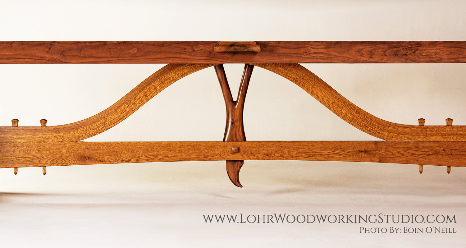 Live Edge Oak Dining Table Sculpted Base