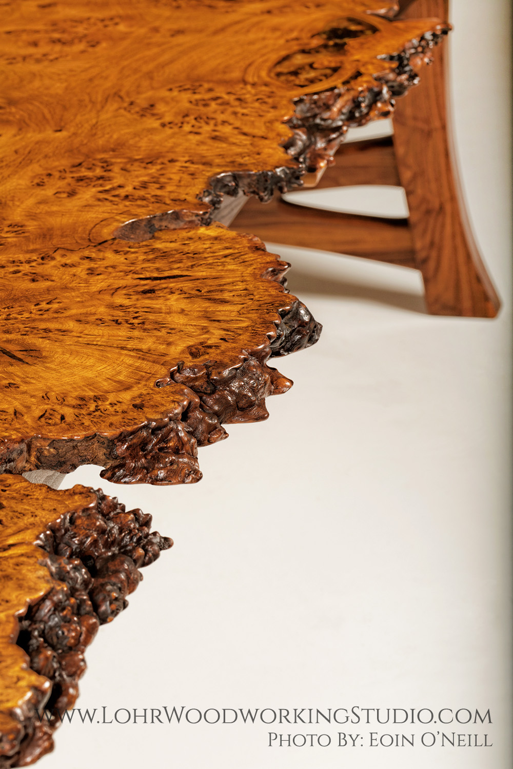 Live Edge Oak Burl Dining Table
