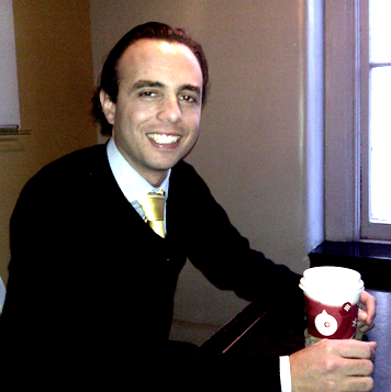 Jason Haber with a tasty cup of coffee.