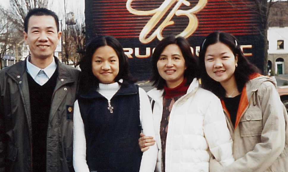 Ah Lan with her husband and two daughters
