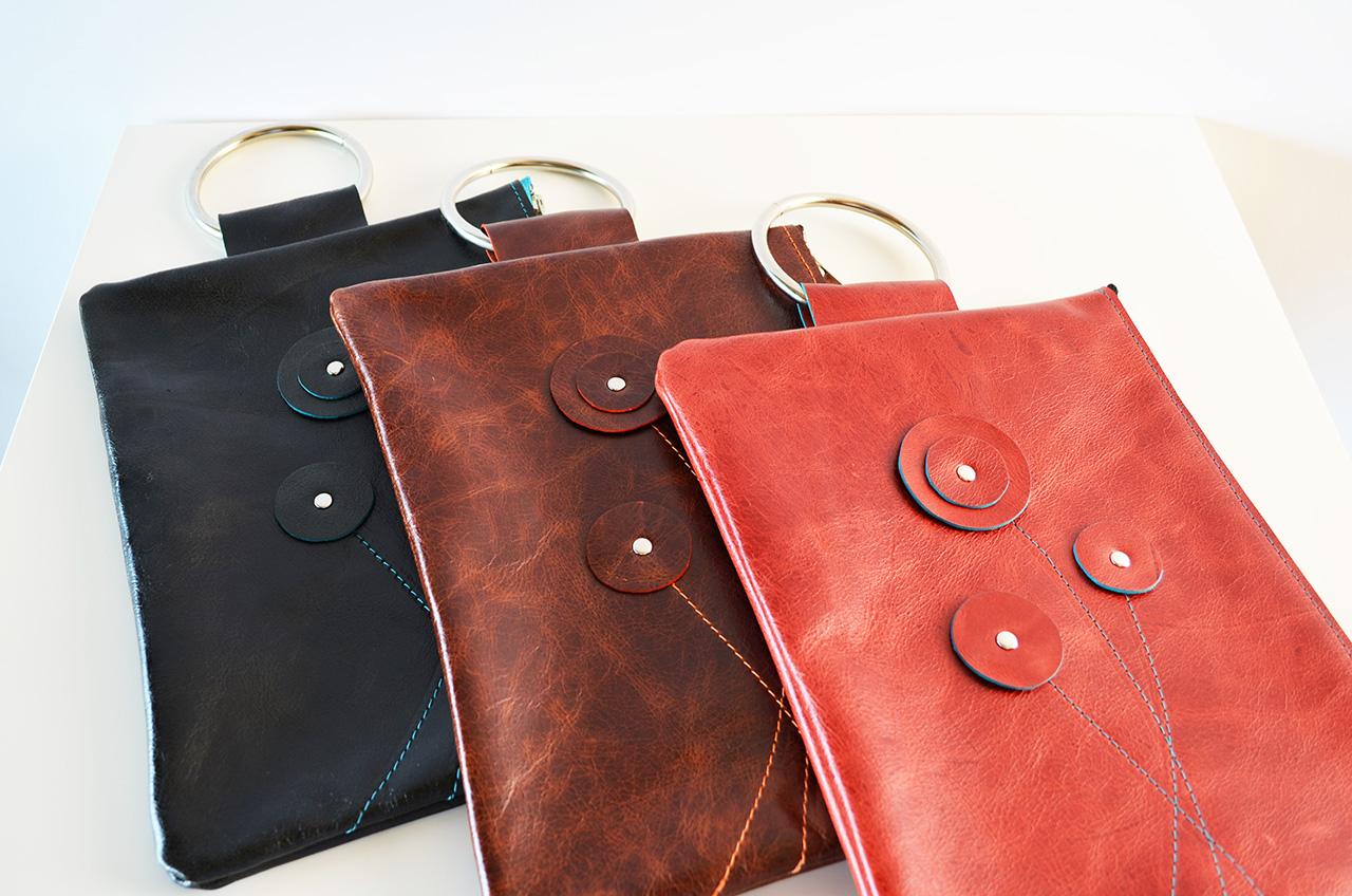 BlossomBracelet Bag  black with teal & teal zipper brown with orange & brown zipper red with teal & black zipper