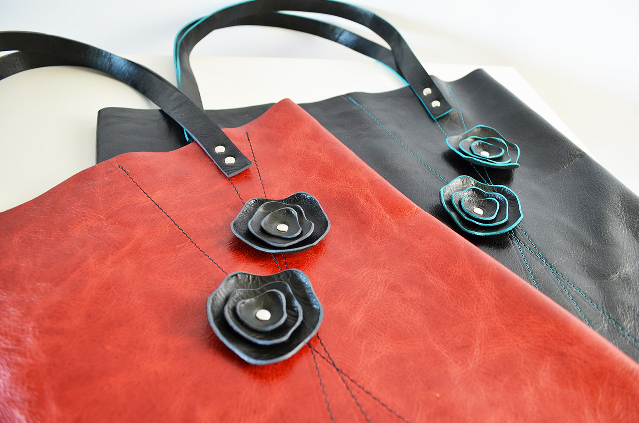 Peony Pop-Out Totes  red with black pop-outs & grey accent black with black pop-outs & teal accent  not shown:green with black pop-outs & teal accent