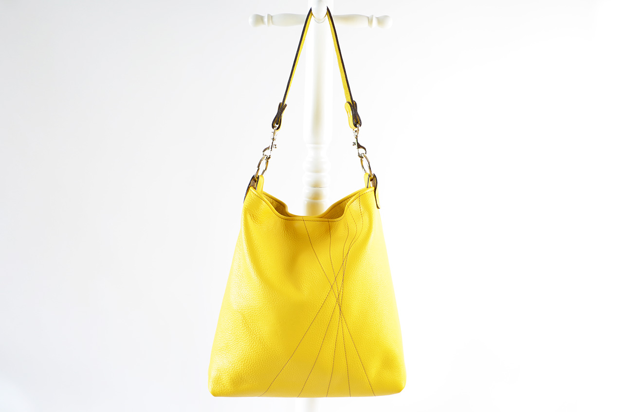 Buttercup Bucket Bag in Mustard Yellow with Brown stitching