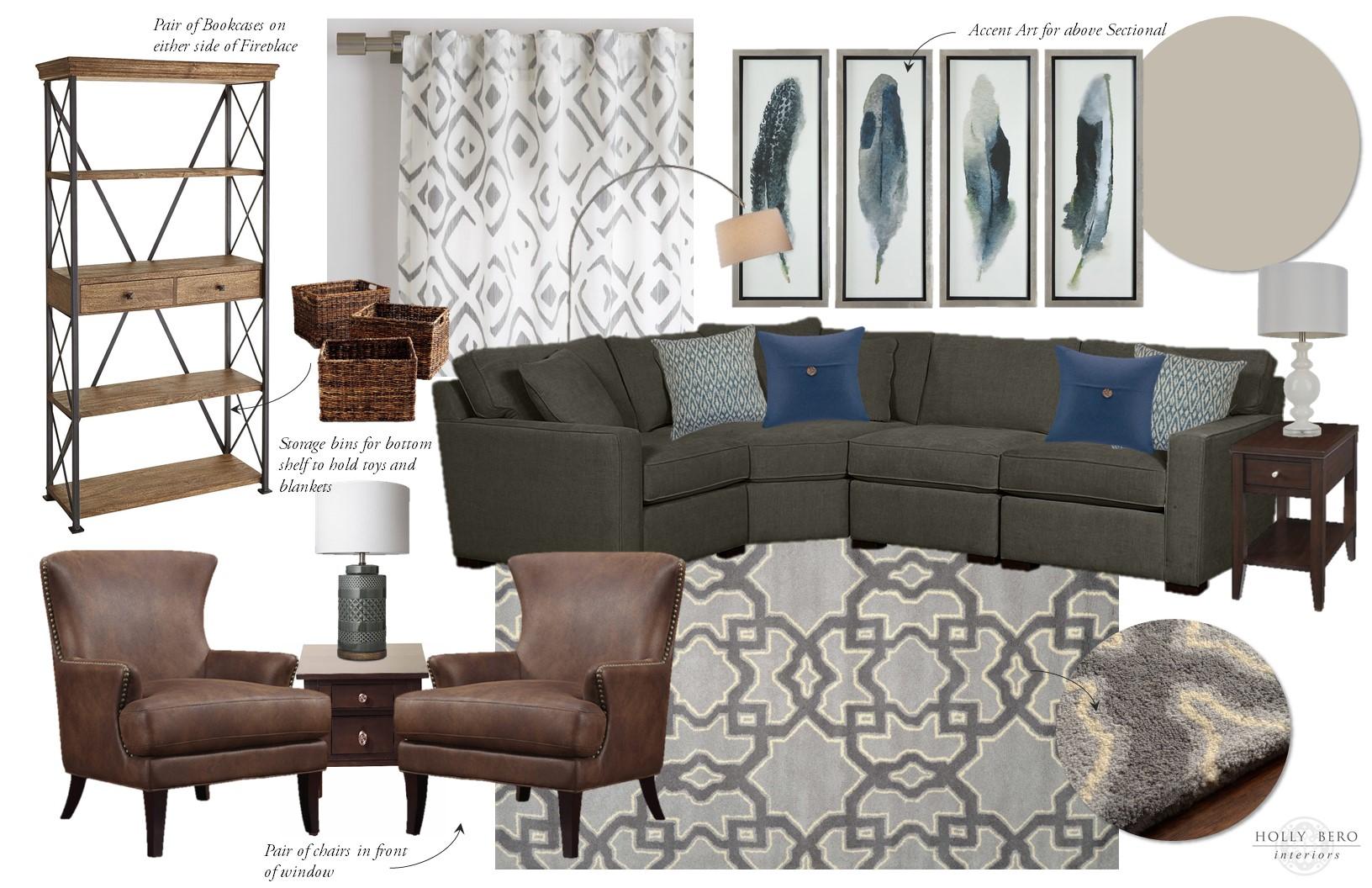 Emerald Lane Family Room E-Design