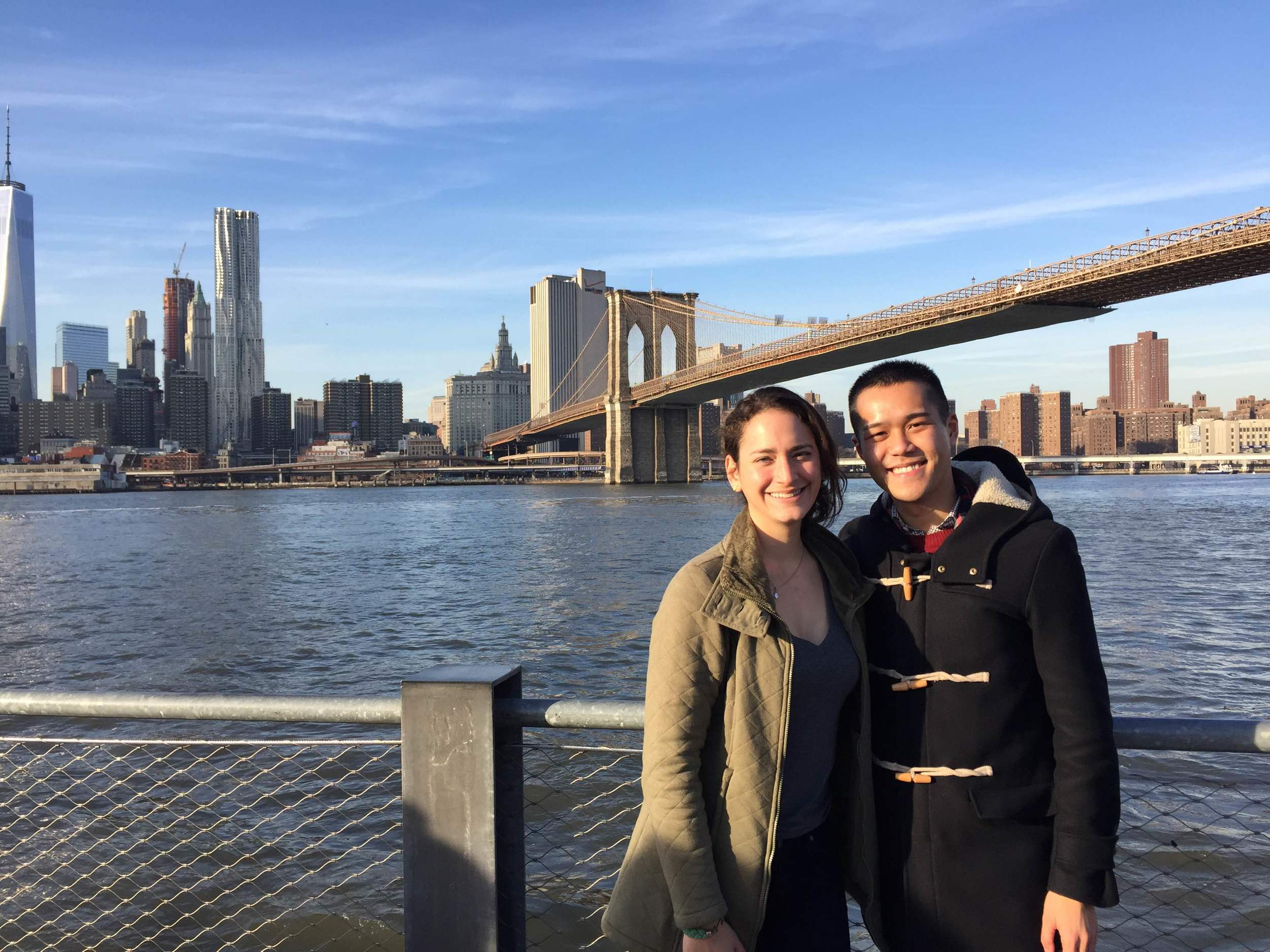 Among the fun things I've done and people I've seen this holiday season: TFC and I after a walk on the Brooklyn Bridge last weekend