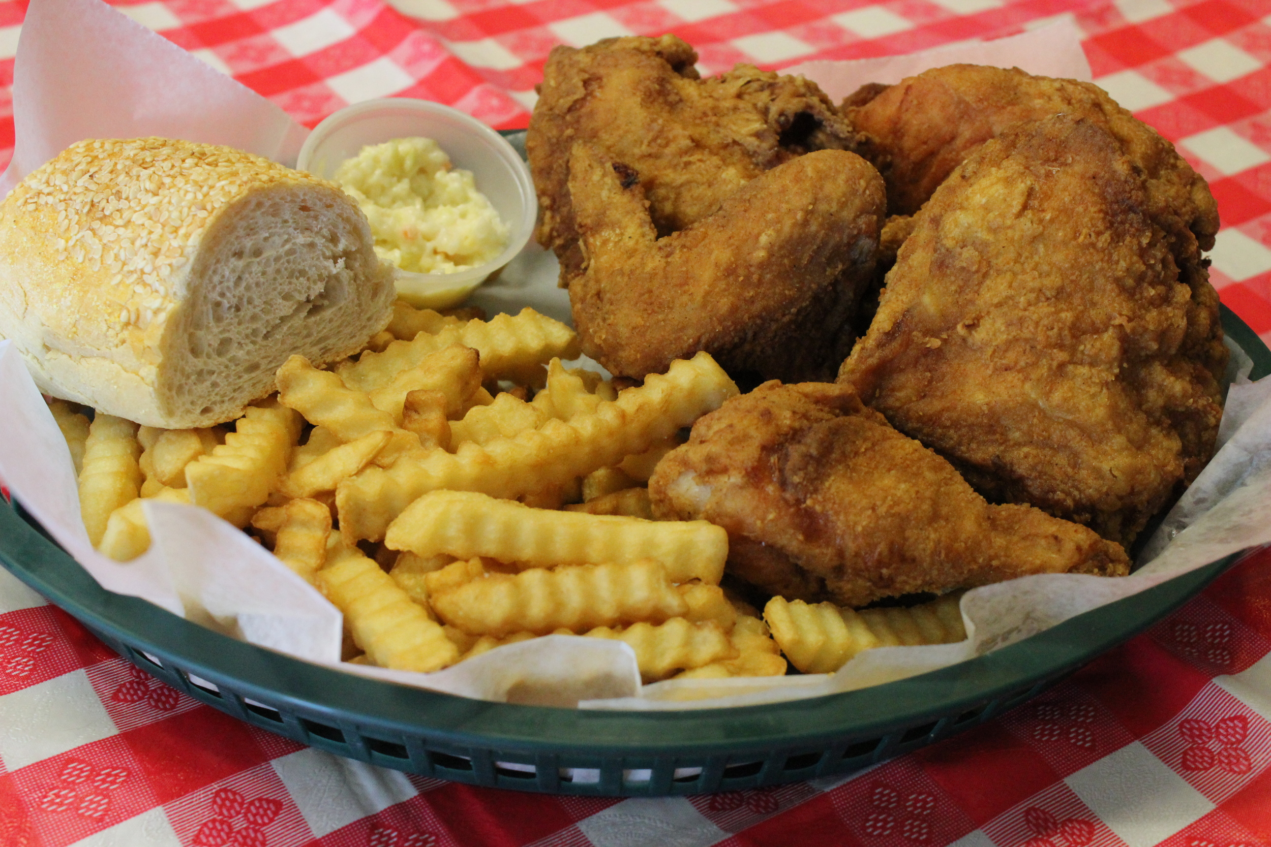 Our 4-piece broasted chicken dinner $7.95