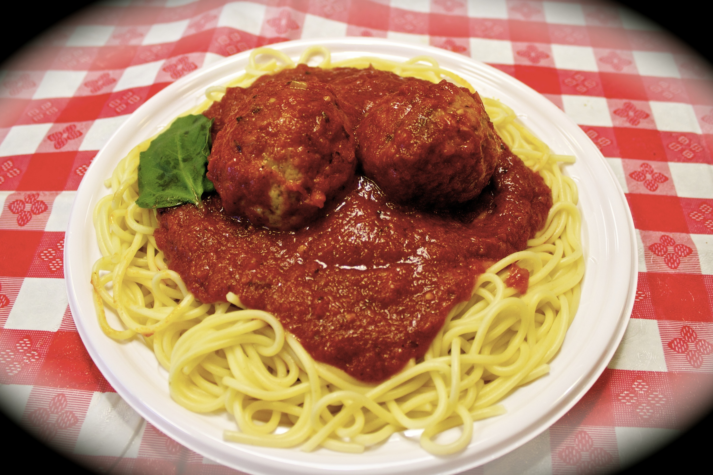 Spaghetti dinner: $6.75. With 2 homemade meatballs: $2.25 extra