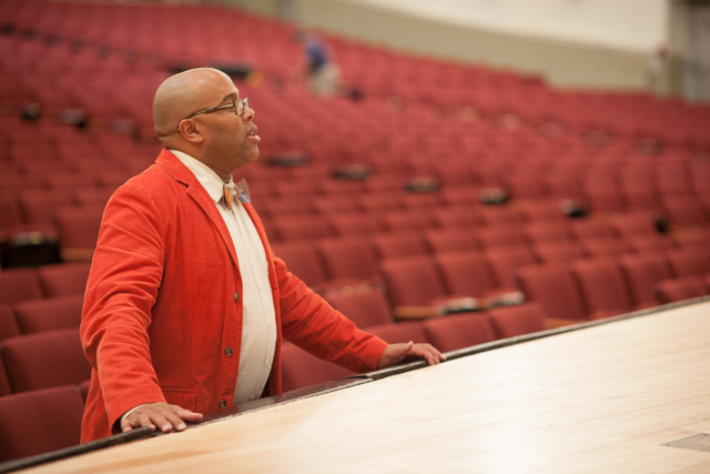 Kevin R. Free, the director for the show Legislative Acts offers his advice during a rehearsal. The show features future Queens borough president Melinda Katz.