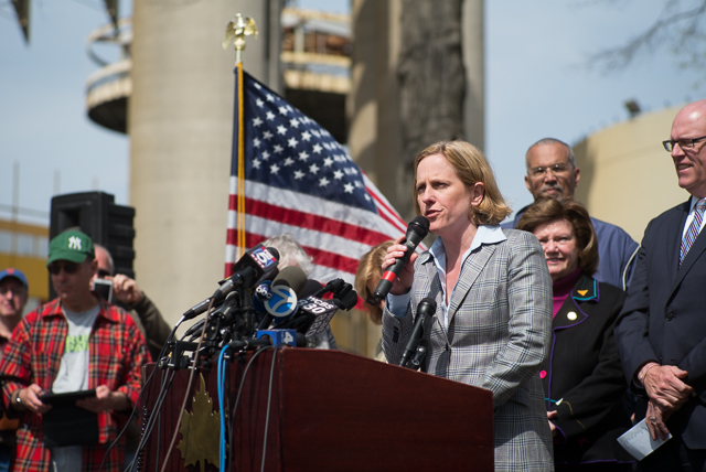 Queens Borough President Melinda Katz announces the opening of the New York State Pavilion. April 22nd, 2014.