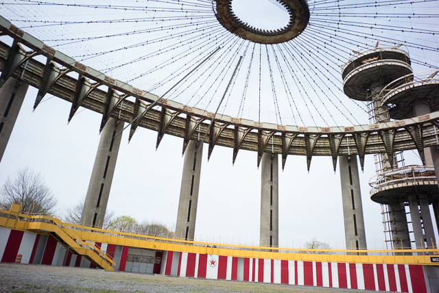 The interior of the New York State Pavilion. April 22nd, 2014.