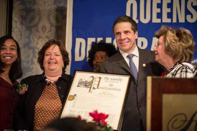 Governor Andrew Cuomo was presented with a proclamation after his speech at the Democratic Women's Lunch in Queens Village on Saturday.