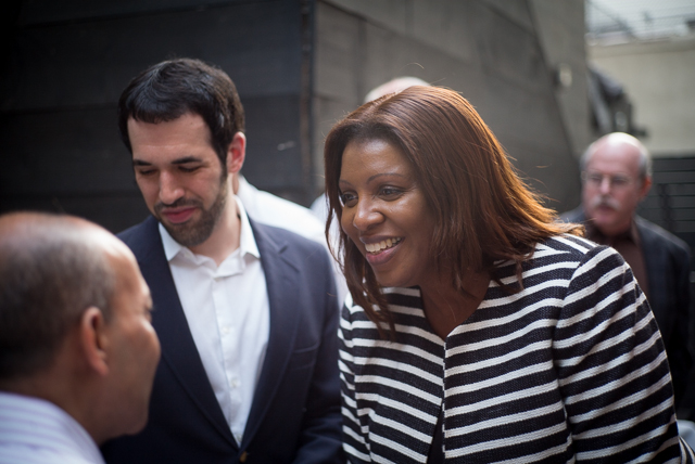 Public Advocate Letitia James greets attendees at the Lesbian and Gay Democratic Club meeting in Forest Hills.