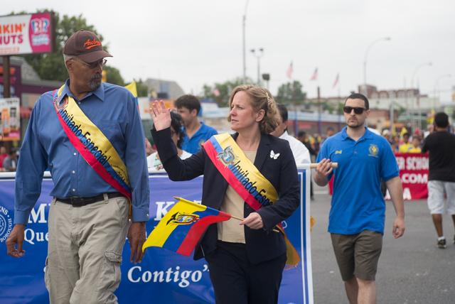 Queens Borough President Melinda Katz attended the Ecuadorian parade which marched along Northern Blvd. Photo by Ken Maldonado