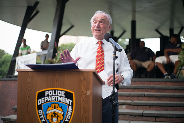 Police Commissioner William Bratton speaks at the 103rd precincts Night Out Against Crime.