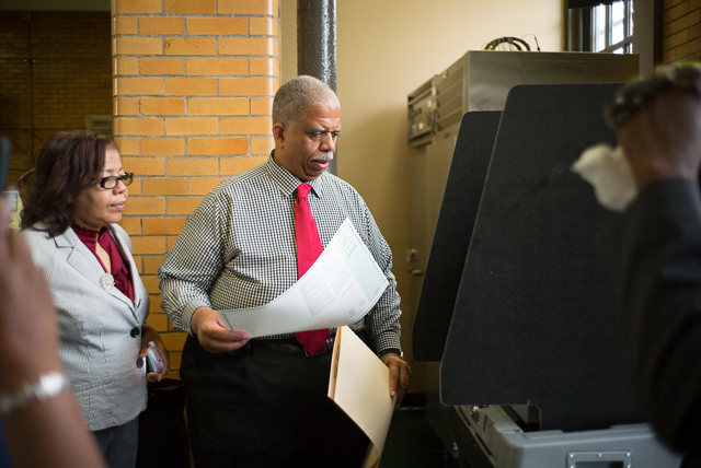 Leroy Comrie votes at PS 118 in the state senate district 14 primary.