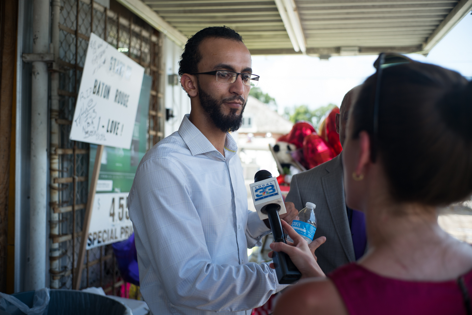 Owner of the Triple S Food Mart Abdullah Muflahi speaks to the media regarding the shooting death of Alton Sterling by police outside his store. An attorney representing Muflahi stated that police had confiscated the stores surveillance equipment without notification or a warrant.