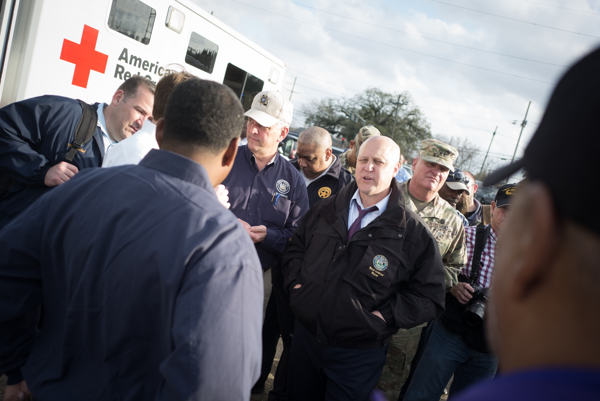 New Orleans Mayor Mitch Landrieu at the base of operations where rescue efforts are being directed following a tornado strike in New Orleans East.