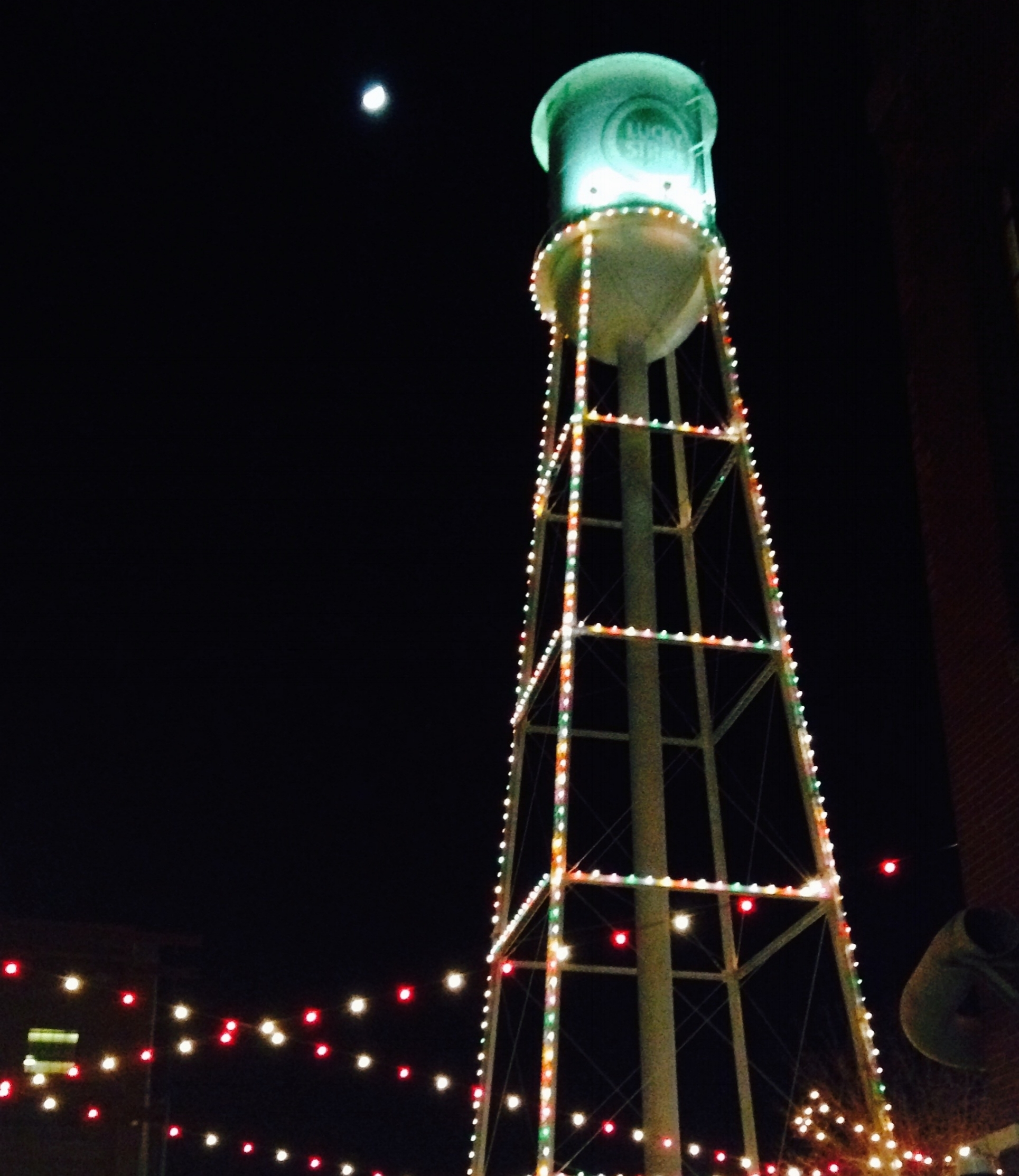 American Tobacco water tower dressed in lights.