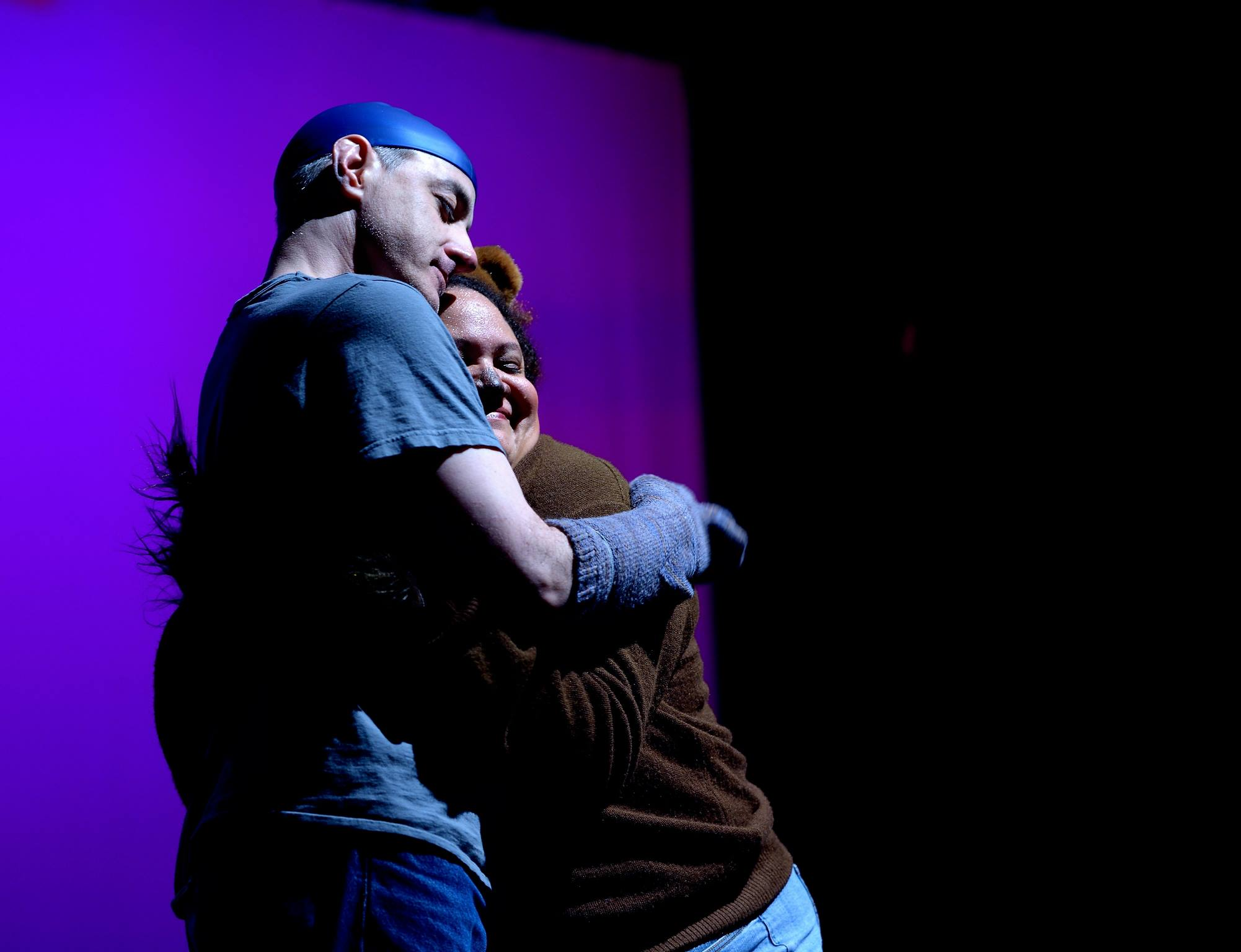 Mark Waldstein and Rebecca M. Davis in  A Fish and a Bear in Purgatory  at 14/48: The World's Quickest Theatre Festival. Photo by Joe Iano.