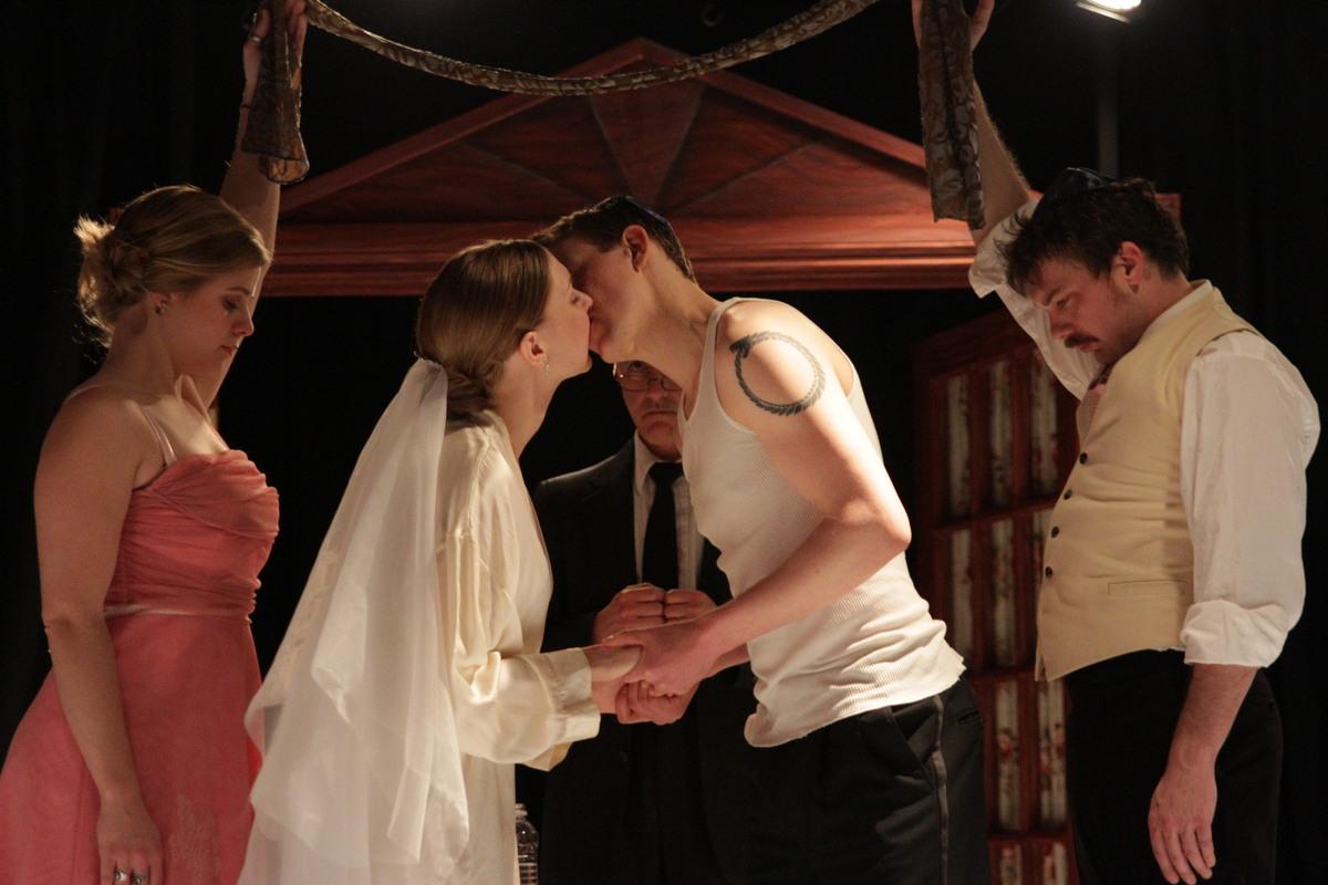 Jillian Vashro, Sydney Andrews de Salinas, Ashton Hyman, and Nick Edwards in  Undo  at Annex Theatre. Photo by Ian Johnston.