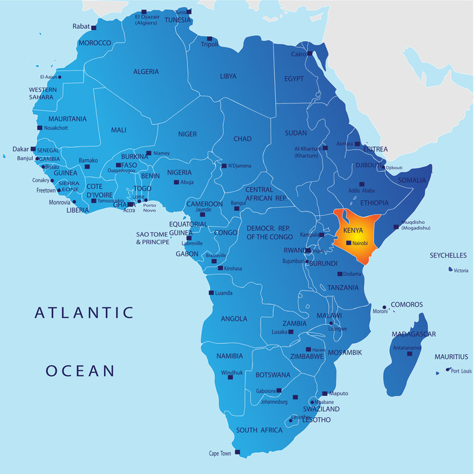 Kenya is located on the equator, situated south of Somalia and north of Tanzania.
