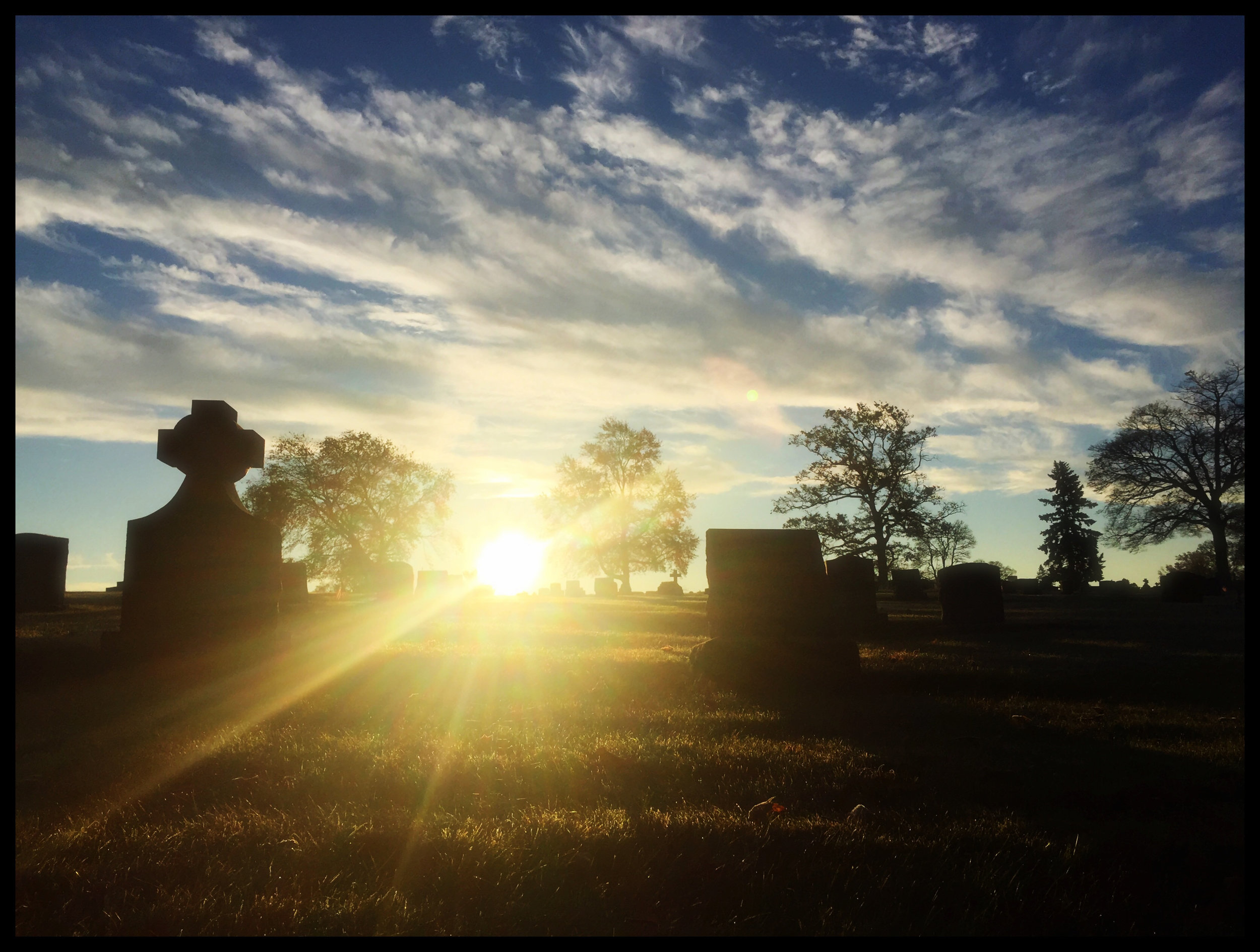 Sunrise at the cemetery. (c) Heather Drew