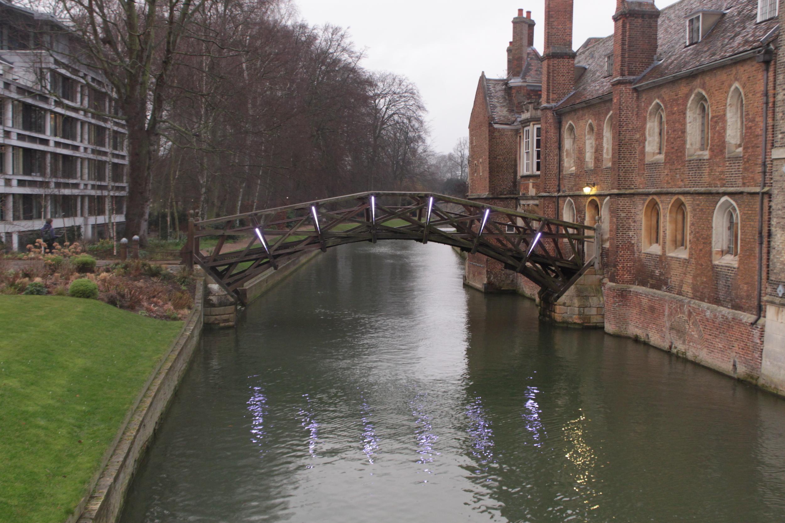 Lights Crossing Cambridge Mathematical Bridge