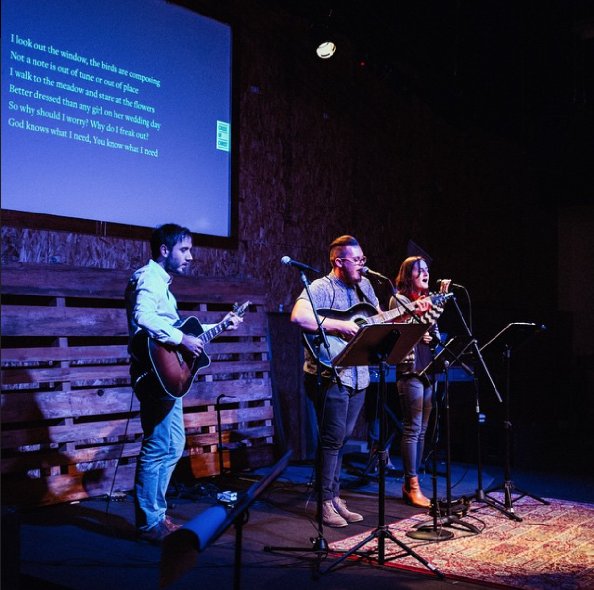 Sterling and the band leading us in worship during our One Year Anniversary.
