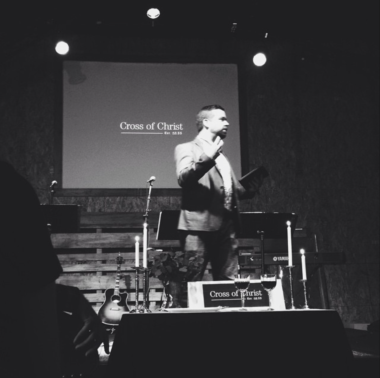 Pastor Nick Bogardus preaching during our One Year Anniversary.