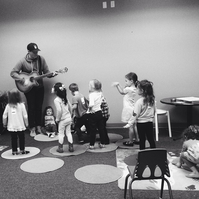 Mr. Justin rocking out with some of the kiddos.