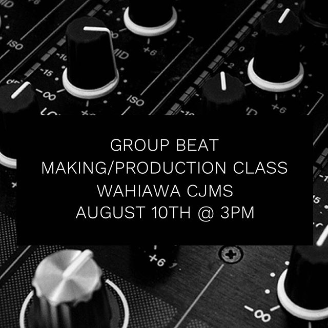 FREE Introduction to Digital Beat Making/Music Production Class w/ Producer/Songwriter/Musician; Jeff James 🎵  Music Production and beat making can seem complicated and quite technical.  In this beat making class, we will introduce you to setting and configuring your equipment to record and produce music effectively.  Also, you will see first hand the creativity, techniques and rhythms need to produce great music.  You'll be learning the foundation to making music from artists like Bruno Mars, Jason Mraz, John Legend, The Rebel Souljahz, etc.  FREE FOR ALL CHUCK JAMES MUSIC STUDENTS WELCOME, Ages 10+  Class:  Intro To Digital Beat Making and Production (FREE) Age: 10 years - infinity Experience Level:  Basic understanding of rhythms Location:  Wahiawa CJMS - 10 North Kamehameha Hwy #1 in Wahiawa Date:  August 10th Time:  3-4:15pm Equipment:  No computers or software needed.  Jeff will be providing you with everything you need for this beat making class.  SPACE IS LIMITED.  Contact your studio receptionist to reserve your spot today! 🎼