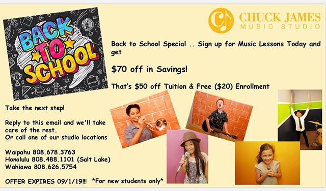 Been thinking about starting music lessons or returning to lessons?  Now is the time!  Our Back to School special = $70 savings for you!  That's $50 off tuition and free $20 enrollment!  Be sure to mention this special when you call to enroll. ☺️🎶 Offer ends on Sept 1st. #cjms #chuckjamesmusicstudio #oahumusiclessons #hawaii #hawaiilife #musicislife #musictheory #piano #pianolessons #drums #drumlessons #percussion #brass #trumpet #trumpetlessons #guitar #guitarlessons #ukulele #ukulelelessons #saxaphone #saxaphonelessons #voice #vocal #vocallessons #singinglessons #icepalace #stadiummall #aiea #waipahu #wahiawa
