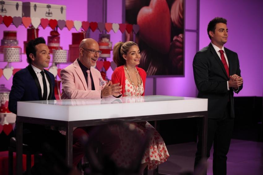 Judges Jonathan Grahm, Ron Ben Israel and Waylynn Lucas with host Jonathan Bennett.jpeg
