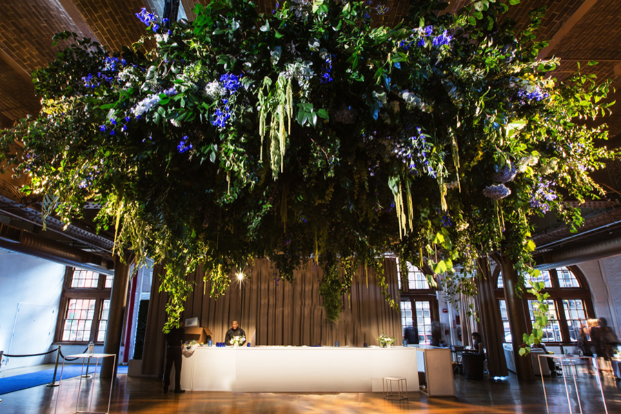 4. hanging floral chandelier with foraged foliage 1.jpg
