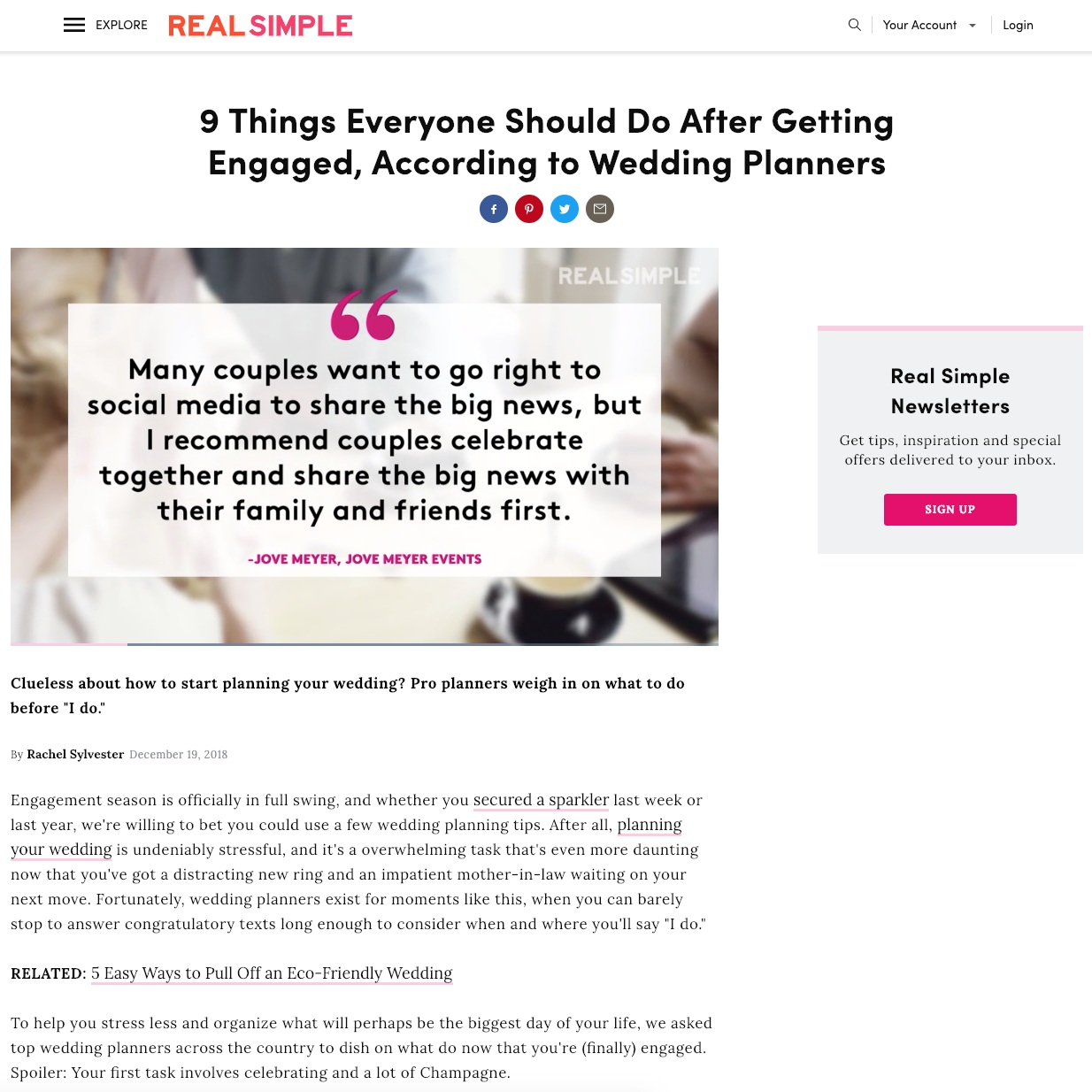 wedding planner jove meyer featured in real simple