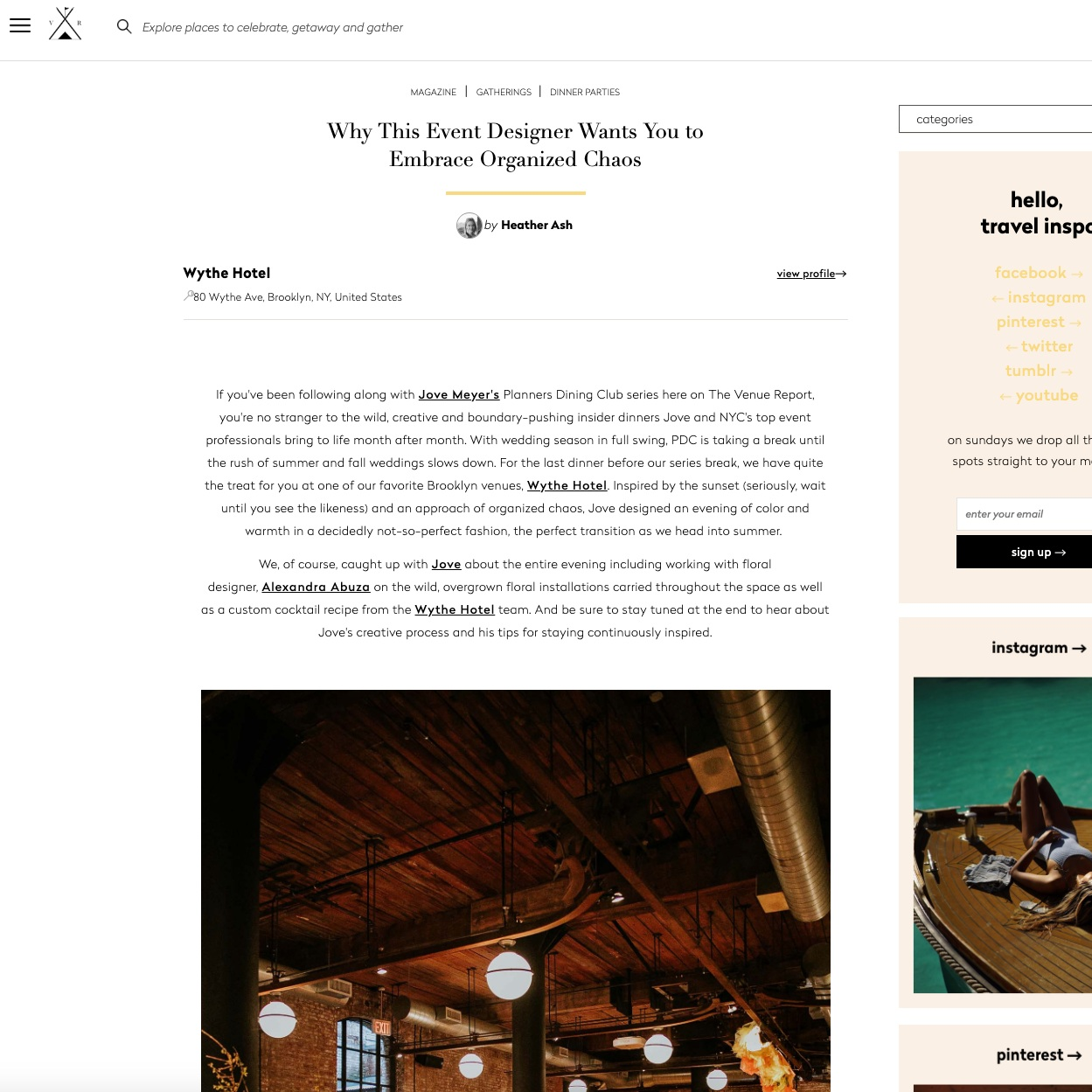 nyc designer jove meyer featured in the venue report for wythe hotel event