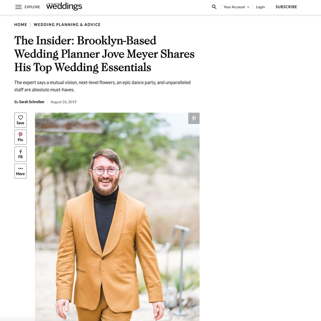 top wedding planner jove meyer featured in martha stewart