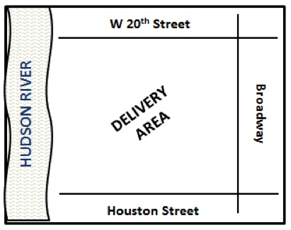 Delivery area map