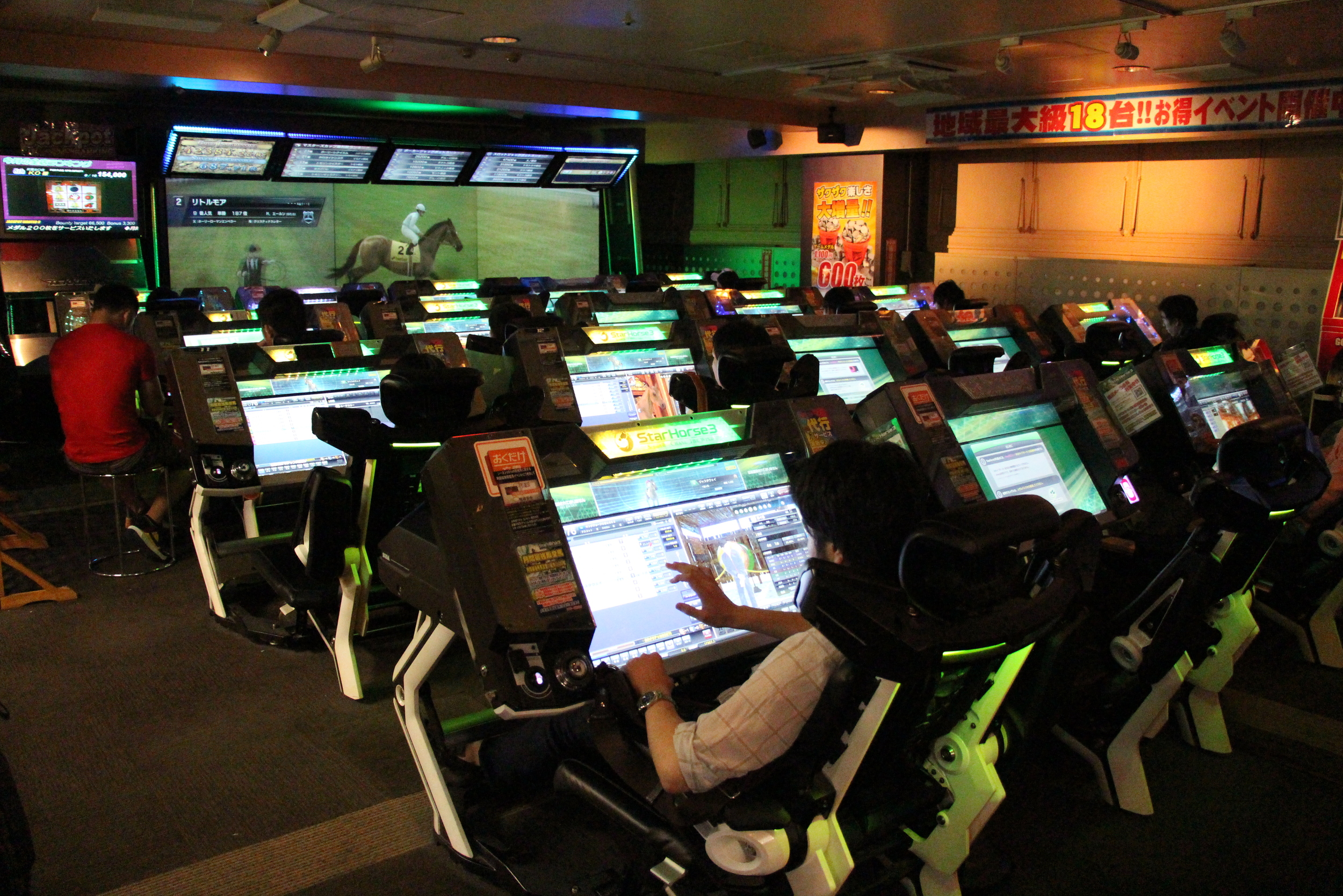 Horse racing appears to be big business in Japan and was the single largest activity we saw in the arcade.