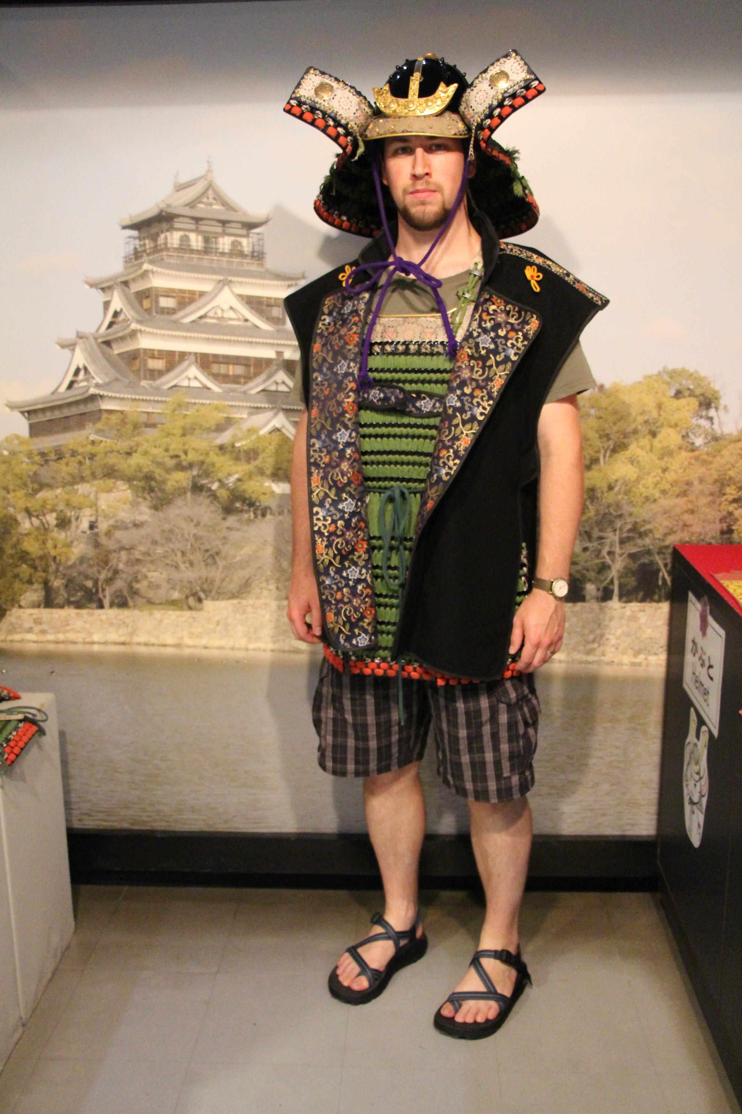 Andrew-san makes a formidable samurai, don't you think? Taken at Hiroshima Castle.