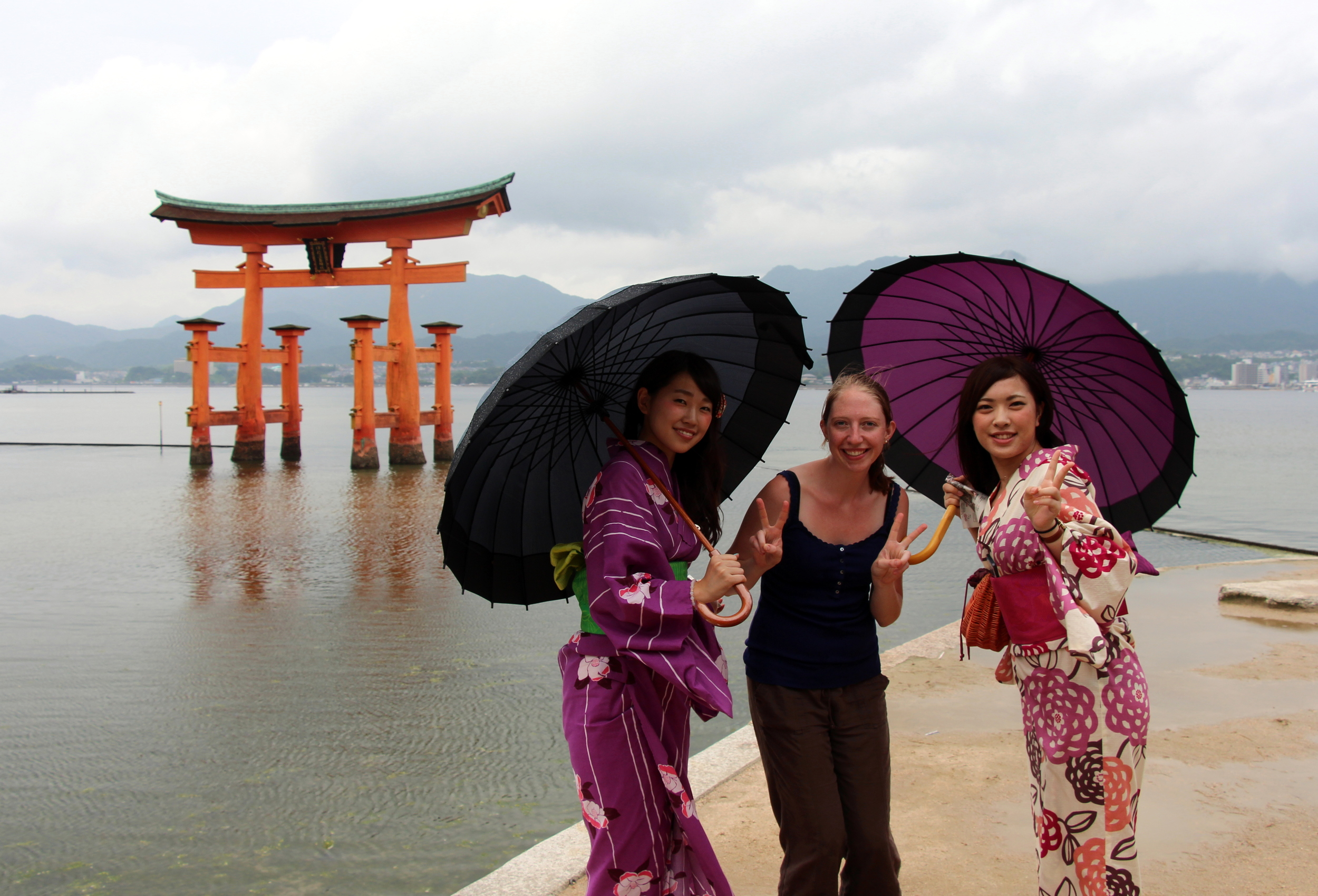 Kelsi and some other sightseers in front of the famous torii gate of the Itsukushima shrine on Miyajima. This small island near Hiroshima is a UNESCO World Heritage site and is most recognized by its torii gate over the water.