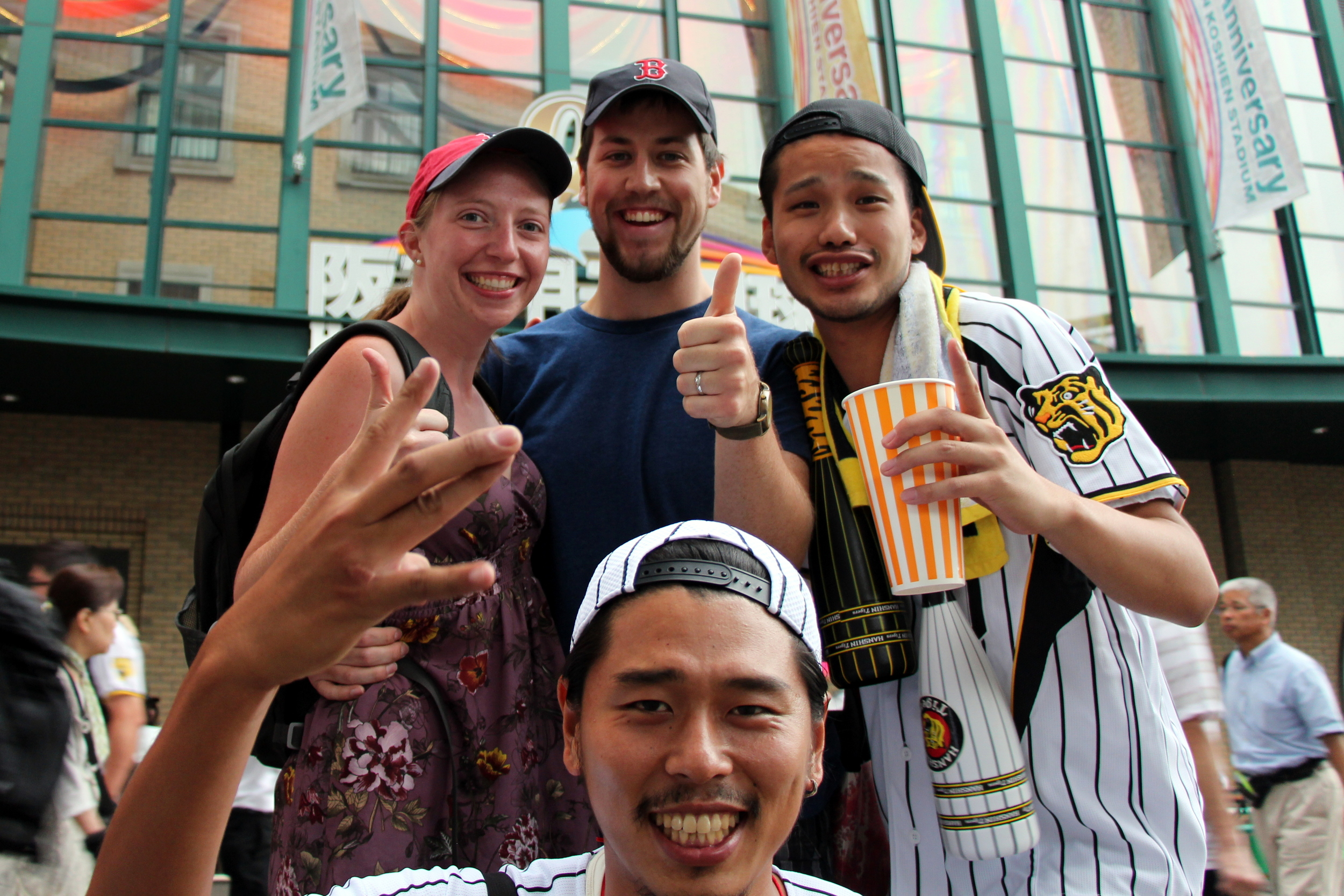 Kelsi and I with random Hanshin Tigers fans who were excited to welcome us to the stadium before the game.