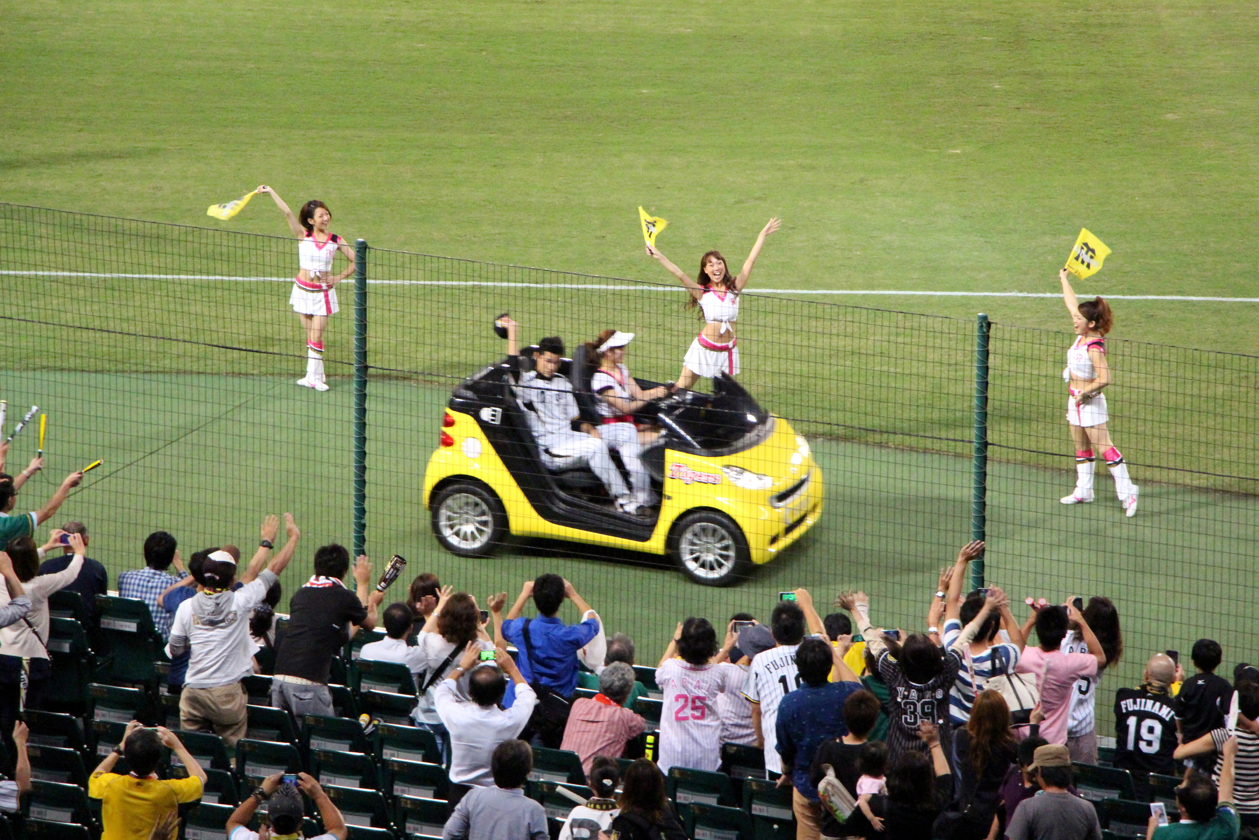 ...then a victory lap around the field. Note that baseball in Japan also has cheerleaders.