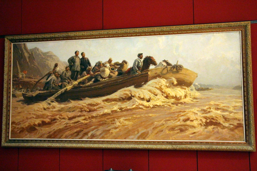 "Beijing: At the National Museum of China there is a collection of dramatic, patriotic paintings, mostly of Mao. We called this one ""Mao Crossing the Delaware""."