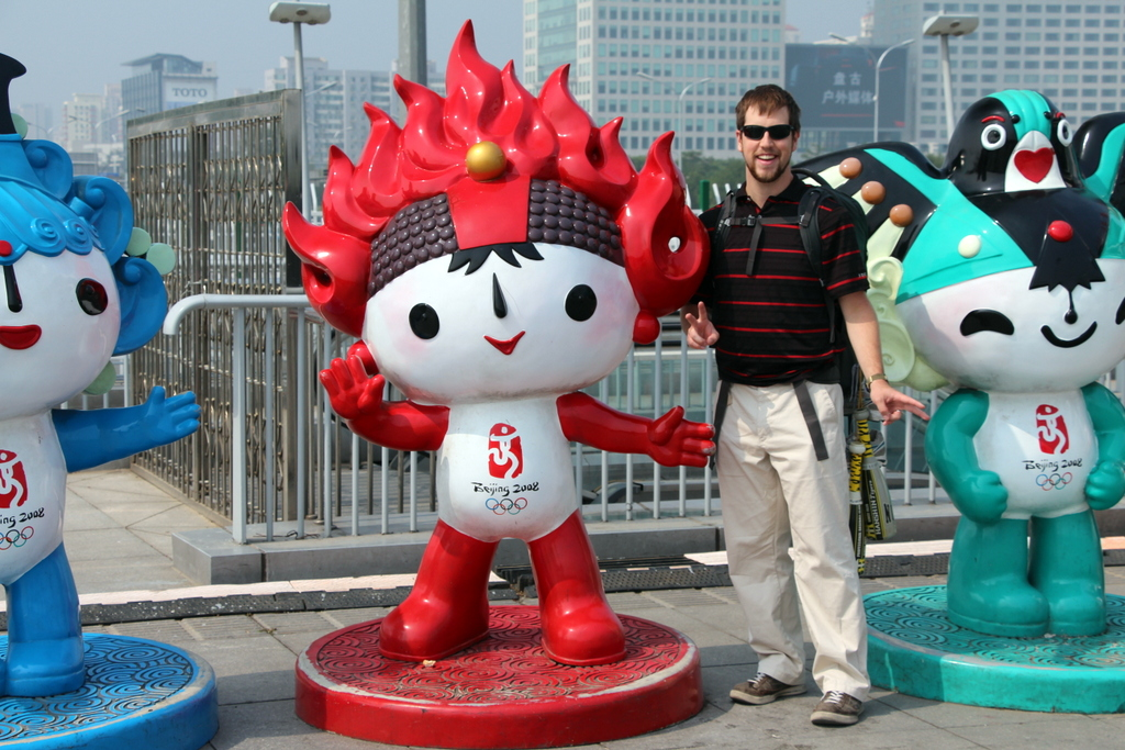"Beijing: ""Why yes, I do want to take my photo with an Olympic mascot from six years ago!"""