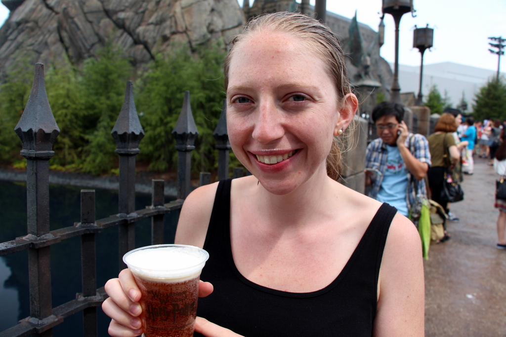 Osaka: We visited Universal Studios Japan and went to the new Harry Potter World at the park. Kelsi is about to taste the butterbeer which, no joke, tasted amazing . It is a sweet butterscotch drink with a milky froth on top like on a milkshake. We had a frozen version of the treat as well and devoted significant conversation to try to figure out how to reproduce it someday at home. Below are some more photos from our day at Universal Studios Japan.