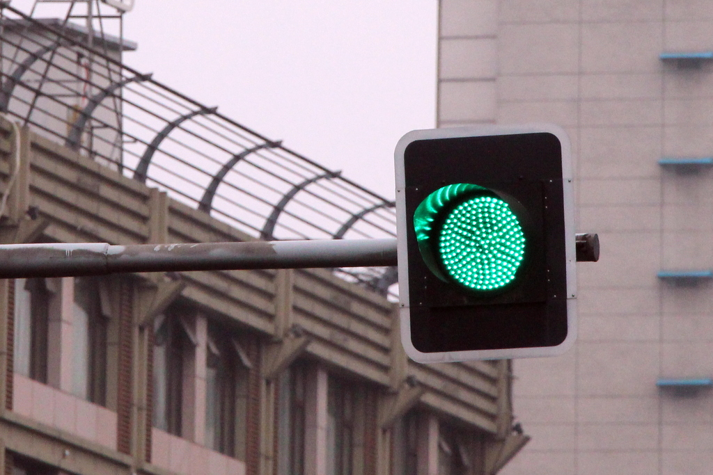 ...from this green light.