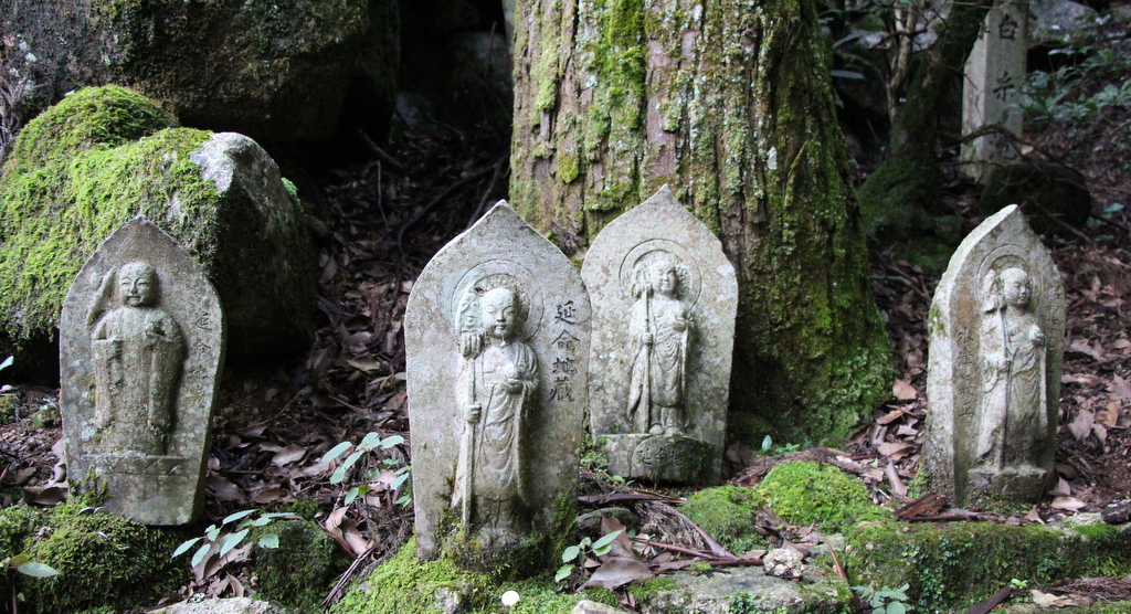 Miyajima: There is a large Buddhist temple on the island and we found these statues on a trail near the temple